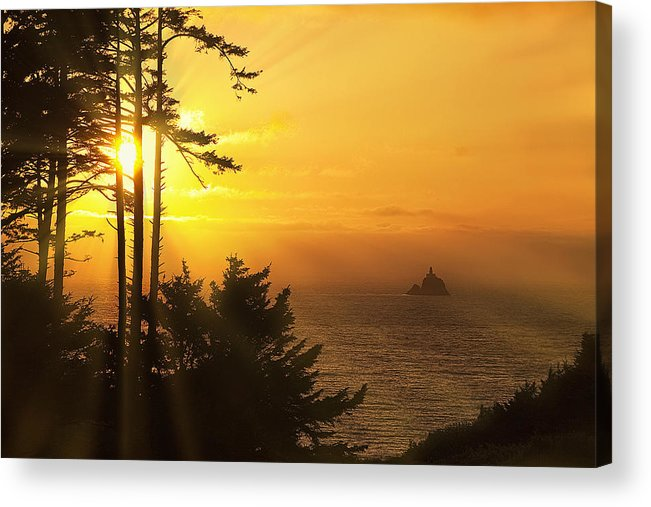 Lighthouse Acrylic Print featuring the photograph Sunset Thru The Trees by Andrew Soundarajan