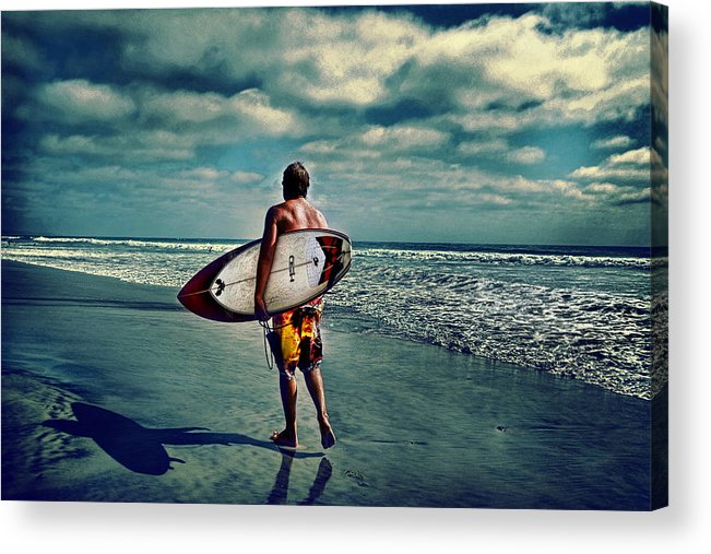 � Jamesdavidphotography; Photo; Photograph; Horizontal; Surf; Surfing; Surf Board; Board; Plank; Short; Long; Sport; Wet; Ocean; Pacific; Male; Teen; Wave; Breaker; Shore; Dscf3490; Lucisart; Fuji S5 Pro; Sand; Wave; Cloudly; Dramatic Acrylic Print featuring the photograph Surfer Walking The Beach by James David Phenicie