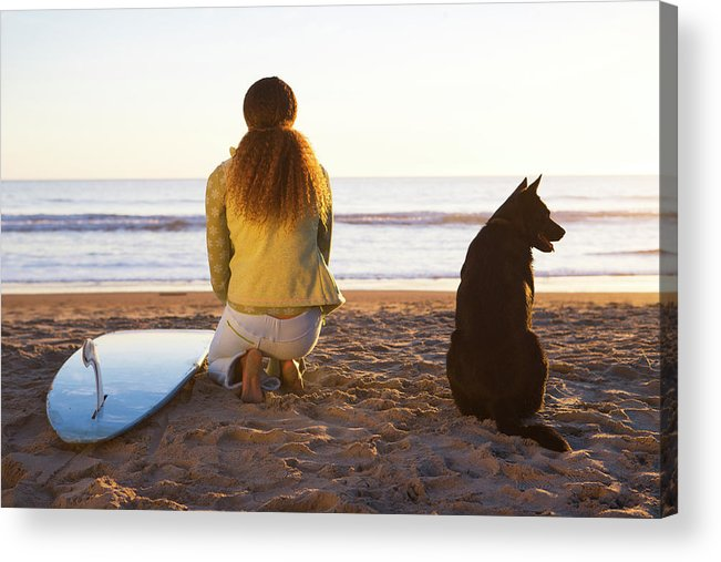 Autumn Acrylic Print featuring the photograph Surfer Woman And Dog On Beach by Ty Milford