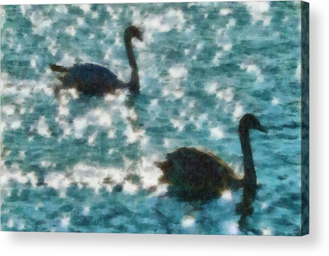 Swan Acrylic Print featuring the painting Swan Lake by Ayse and Deniz
