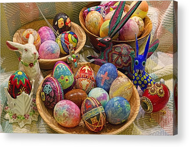 Easter; Cross; Crosses; Crucifixion; Jesus Christ; Jesus; Christ; Christian; Holiday; Holidays; Spiritual; Secular; Symbol; Symbols; Symbolism; Symbolic; Rabbit; Rabbits; Bunny; Bunnies; Easter Bunny; Egg; Eggs; Dyed; Colored; Decorated; Pysanka; Ukrainian; Mexican; Folk Art; Porcelain; Bowl; Bowls; Turned Bowl; Turned Bowls; Wooden Bowl; Wooden Bowls;spiritual;secular;photograph;photographs;photography;gary Holmes;gary; Holmes;horizontal Format;landscape;long Exposure;hdr Acrylic Print featuring the photograph Symbols Of Easter- Spiritual And Secular by Gary Holmes