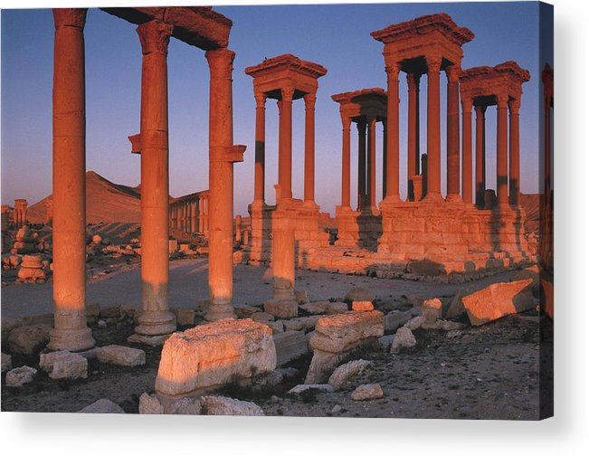Adnt Acrylic Print featuring the photograph Syria, The Great Tetra Pylon At Palmyra by Steve Roxbury