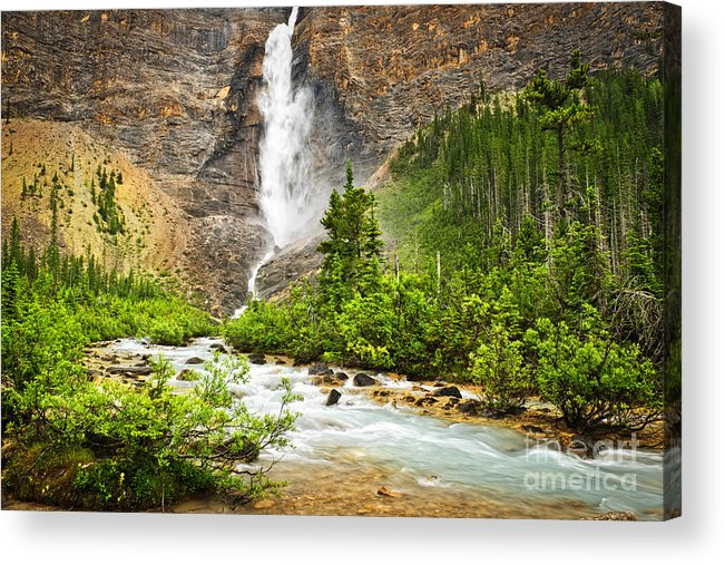 Takakkaw Falls Acrylic Print featuring the photograph Takakkaw Falls Waterfall In Yoho National Park Canada by Elena Elisseeva