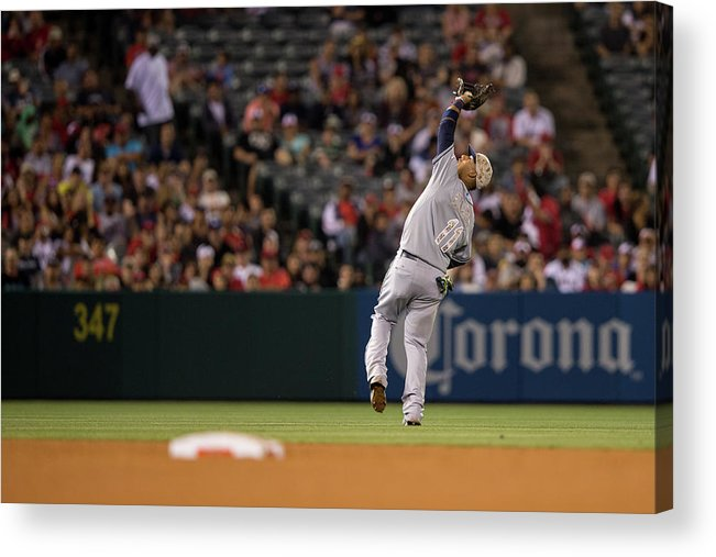 American League Baseball Acrylic Print featuring the photograph Tampa Bay Rays V Los Angeles Angels Of by Paul Spinelli
