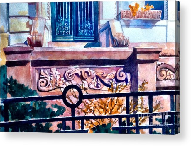 Park Slope Acrylic Print featuring the painting Terra Cotta And Iron Fence by Nancy Wait