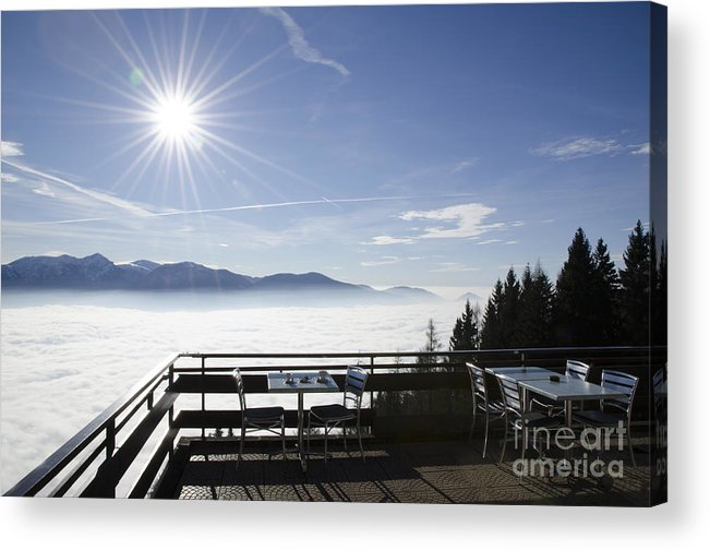 Sea Of Fog Acrylic Print featuring the photograph Terrace With Panoramic View by Mats Silvan