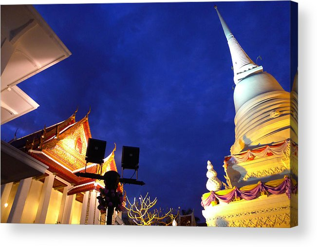 Buddhist Temple Acrylic Print featuring the photograph Thai Temple Sunset by August Timmermans