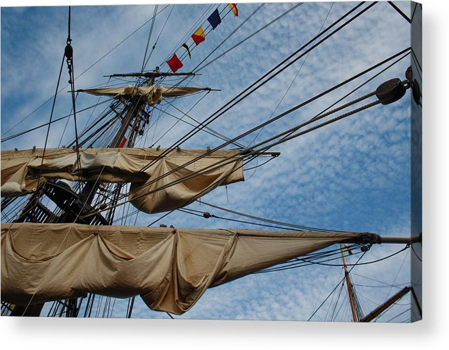 Colour Acrylic Print featuring the photograph The Bounty's Rigging by Dawn Sloane