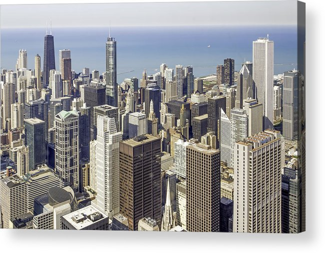 Photos Framed Prints Acrylic Print featuring the photograph The Chicago Skyline From Sears Tower-009 by David Allen Pierson