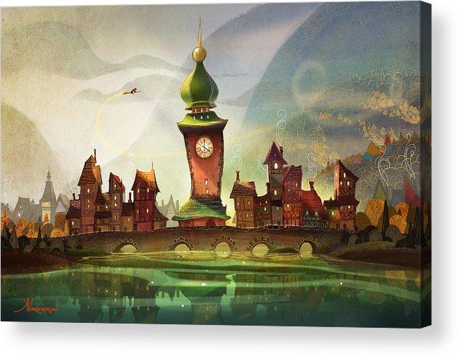 Clock Tower Acrylic Print featuring the painting The Clock Tower by Kristina Vardazaryan