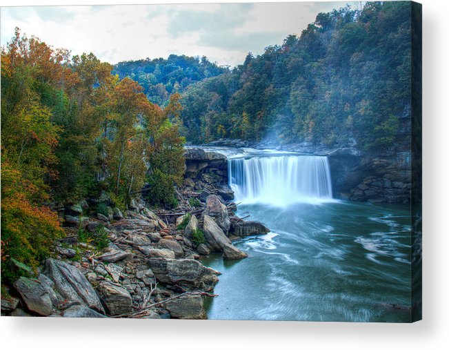 Waterfall Acrylic Print featuring the photograph The Falls In Fall by Angela Moore