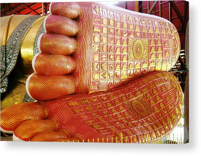 Buddha Feet Acrylic Print featuring the photograph The Feet Of Chaukhtatgyi Reclining Buddha by Ilse Maria Gibson