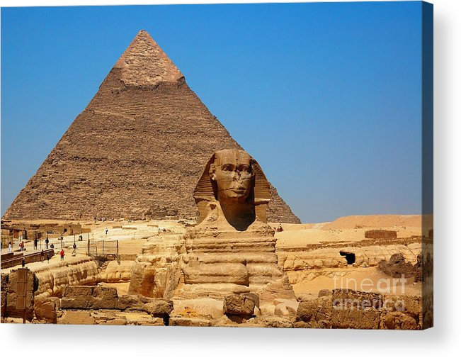 Africa Acrylic Print featuring the photograph The Great Sphinx Of Giza And Pyramid Of Khafre by Joe Ng
