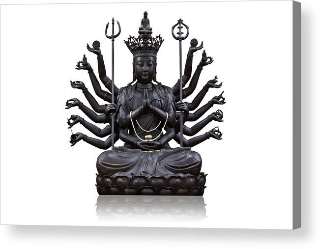 Angel Acrylic Print featuring the photograph The Images Of Guanyin Black by Tosporn Preede