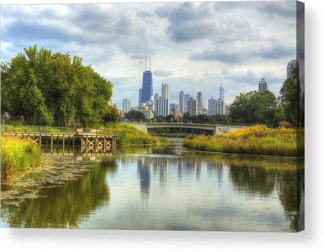 Chicago Acrylic Print featuring the photograph The Lagoon At Lincoln Park by Greg Thiemeyer