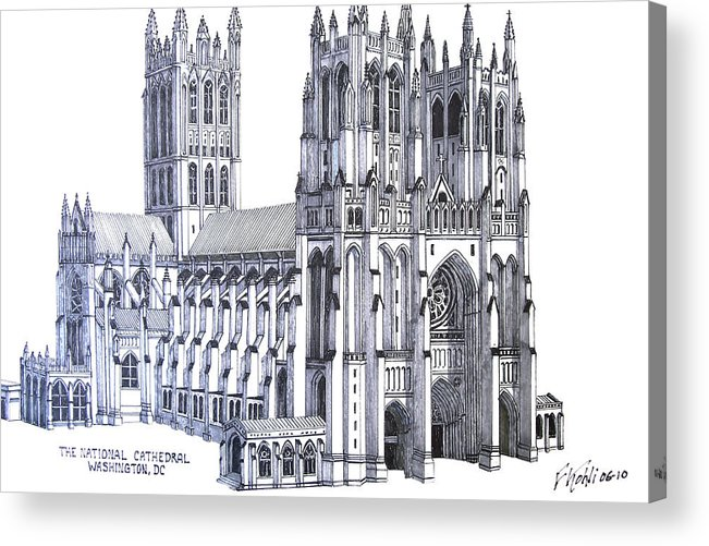 Ink Drawings Acrylic Print featuring the drawing The National Cathedral by Frederic Kohli