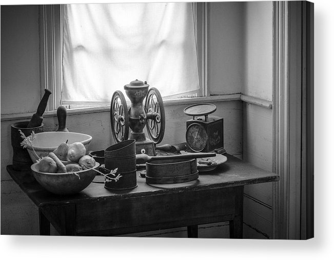 Nostalgic Acrylic Print featuring the photograph The Old Table By The Window - Wonderful Memories Of The Past - 19th Century Table And Window by Gary Heller