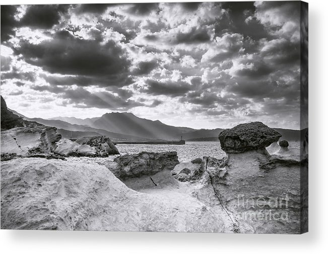Duncan Longden Photography Acrylic Print featuring the photograph The Queen's Head Geological Park. Toned by Duncan Longden