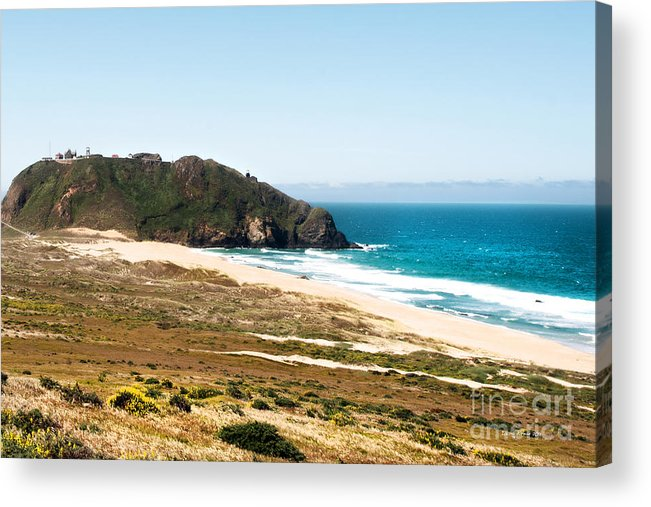 Piedras Blancas Lighthouse Acrylic Print featuring the photograph The Rock Of Piedras Blancas Lighthouse In San Simeon Ca by Artist and Photographer Laura Wrede
