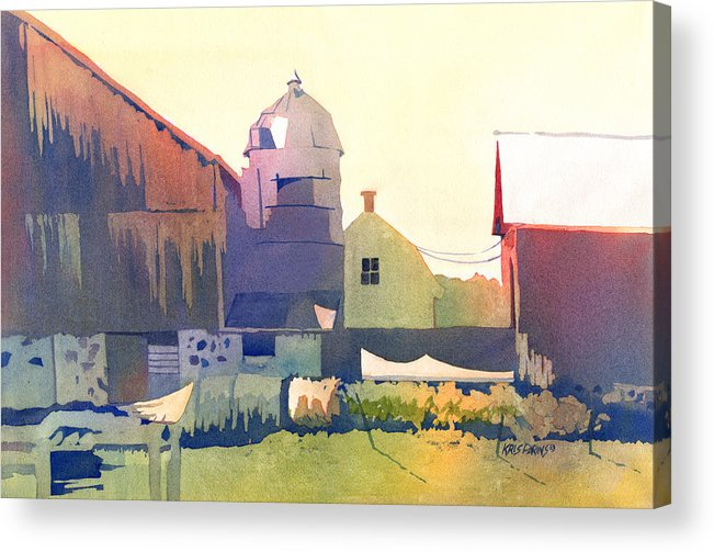 Kris Parins Acrylic Print featuring the painting The Side Of A Barn by Kris Parins