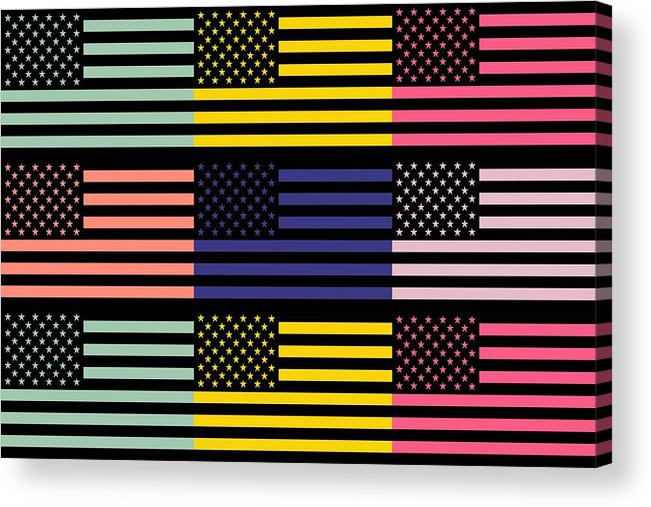 America Acrylic Print featuring the mixed media The Star Flag by Tommytechno Sweden