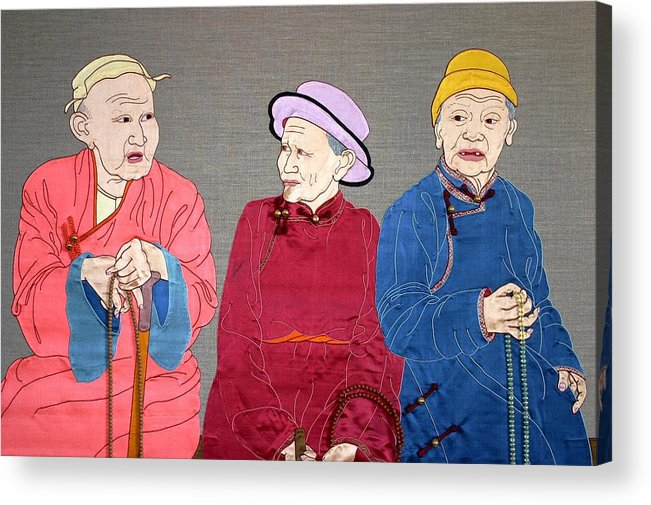 Textile Acrylic Print featuring the mixed media Three Mongolians by Leslie Rinchen-Wongmo