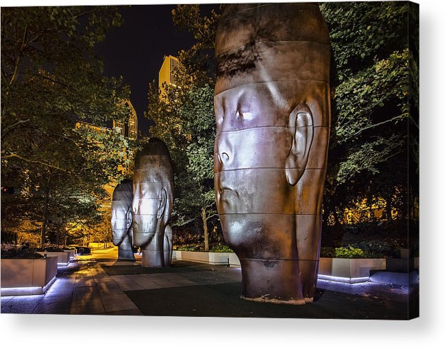 Chicago Acrylic Print featuring the photograph Three New Faces In Chicago's Millennium Park by Sven Brogren