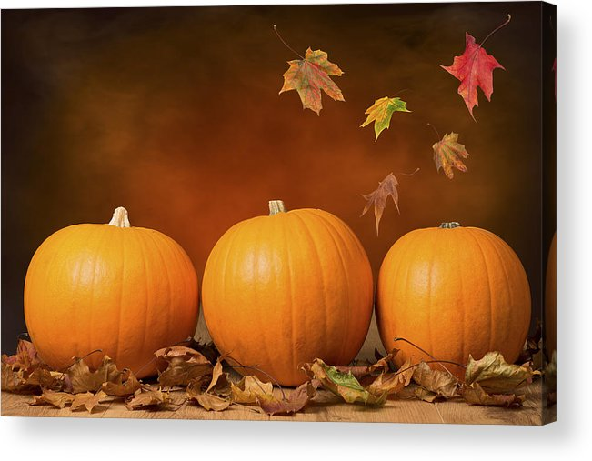 Pumpkin Acrylic Print featuring the photograph Three Pumpkins by Amanda Elwell
