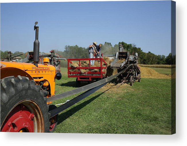 Belt Driven Acrylic Print featuring the photograph Threshing Oats by Rural America Scenics