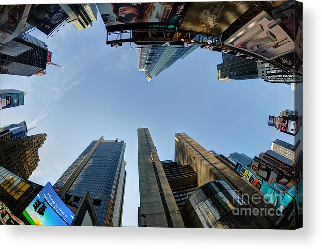 Time Square Acrylic Print featuring the photograph Time Square Sky View by Daniel Portalatin Photography