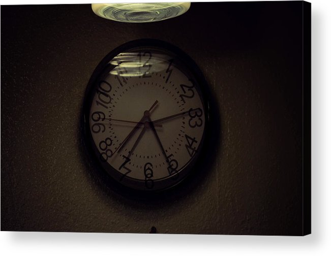 Clocks Overlay Late Hours Time Imprecise Inaccurate Crooked Ominous Euphoria Dysphoria Malaise Sorrow Urgency Acrylic Print featuring the photograph Time's Callous Imprecision by Keanu Hakimian