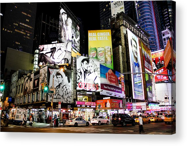Times Square Acrylic Print featuring the photograph Times Square At Night by Sam Garcia