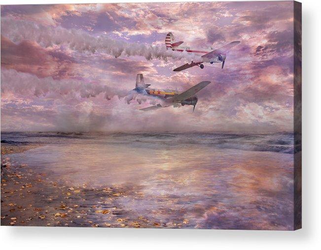Beach Acrylic Print featuring the digital art Topsail Flyers by Betsy Knapp
