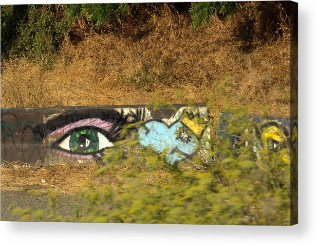 Eye Acrylic Print featuring the photograph Train Track Graffiti by Jeri lyn Chevalier