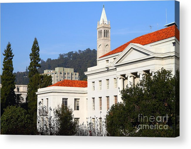Berkeley Acrylic Print featuring the photograph Uc Berkeley . Sproul Plaza . Sproul Hall . Sather Tower Campanile . 7d10008 by Wingsdomain Art and Photography