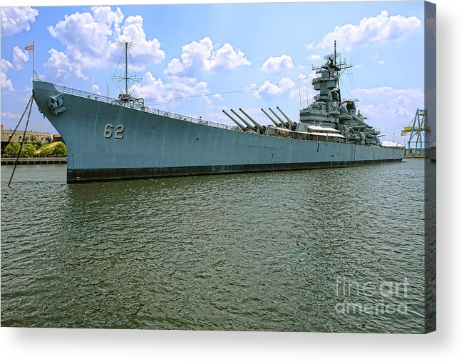 Uss New Jersey Acrylic Print featuring the photograph Uss New Jersey by Olivier Le Queinec