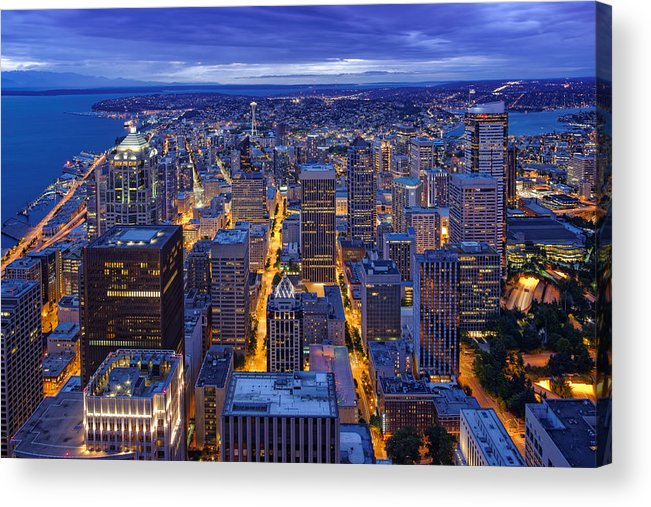 View Of Downtown Seattle Skyline From Columbia Tower Skyview Observatory -  Seattle Washington Acrylic Print