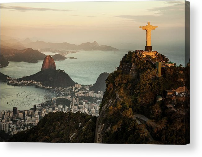 Outdoors Acrylic Print featuring the photograph View Of Rio De Janeiro At Sunset by Christian Adams