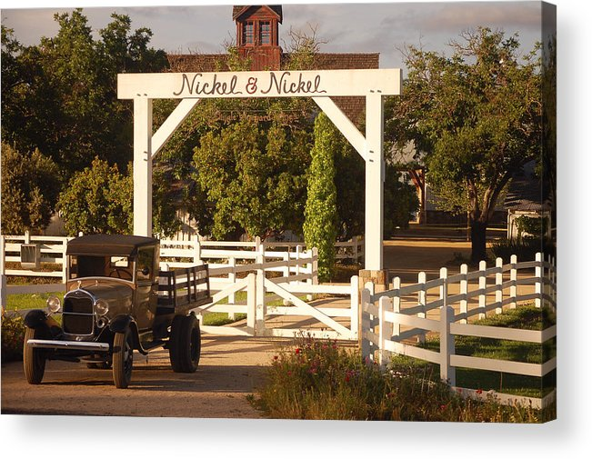 Vintage Truck Wood Railed Flatbed Fence Posts White Fence Wooden Farm Vineyard Nickel And Nickel Vineyards Napa California Ca Acrylic Print featuring the photograph Vineyard Trucking by Holly Blunkall