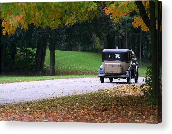 Vintage Auto Acrylic Print featuring the photograph Vintage Auto On The Road Again by Kay Novy