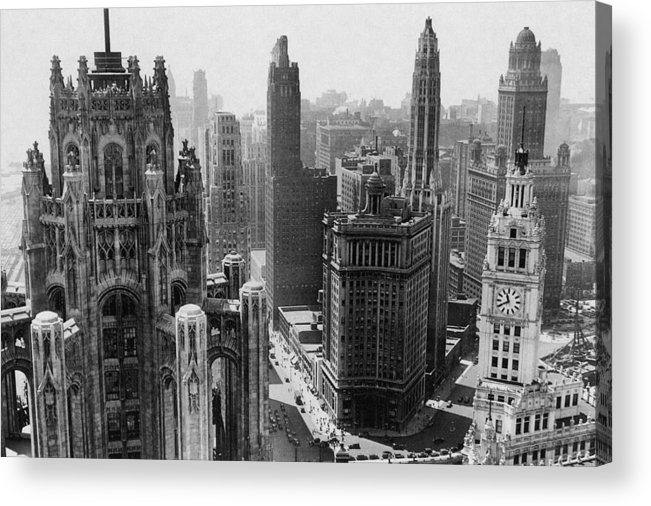 Vintage Acrylic Print featuring the photograph Vintage Chicago Skyline by Bob Horsch