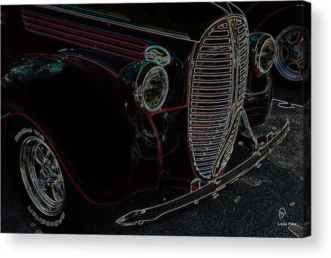 Ford Acrylic Print featuring the photograph Vintage Ford Neon Art Grill by Lesa Fine
