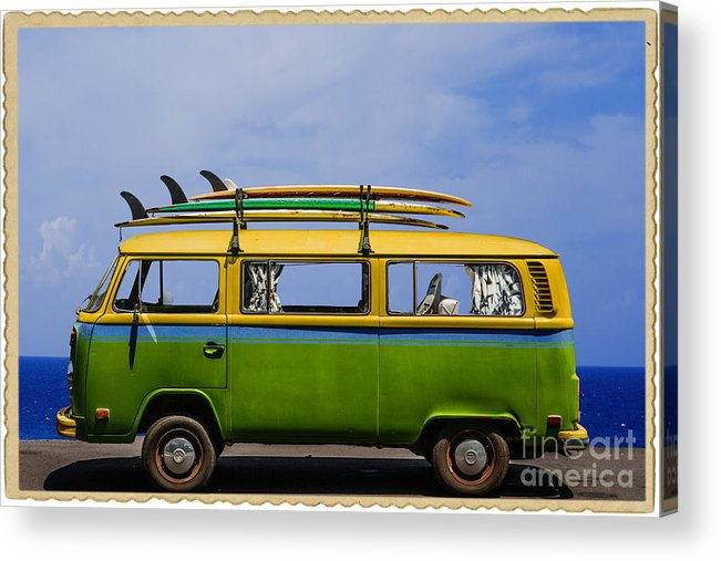 Surf Acrylic Print featuring the photograph Vintage Surf Van by Diane Diederich