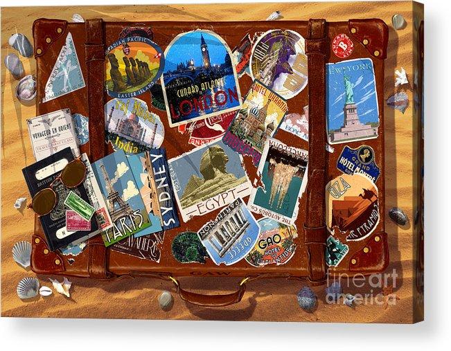 Bag Acrylic Print featuring the digital art Vintage Travel Case by Garry Walton