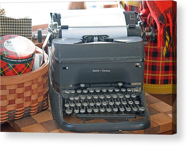 Plaid Acrylic Print featuring the photograph Vintage Typewriter by Linda L Brobeck