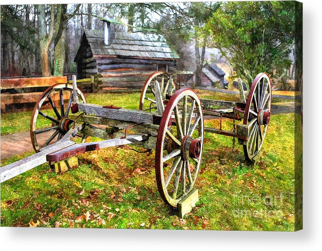 North Carolina Acrylic Print featuring the photograph Vintage Wagon On Blue Ridge Parkway I by Dan Carmichael