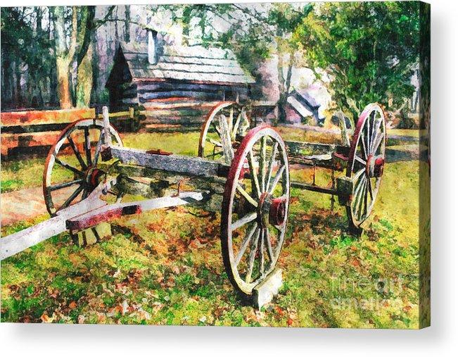 North Carolina Acrylic Print featuring the painting Vintage Wagon On Blue Ridge Parkway II by Dan Carmichael