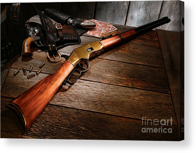 Western Acrylic Print featuring the photograph Waiting For The Gunfight by Olivier Le Queinec