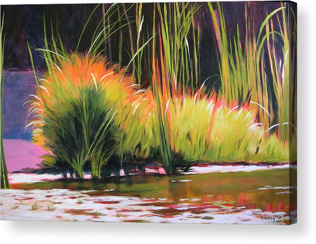 Landscape Acrylic Print featuring the painting Water Garden Landscape 3 by Melody Cleary