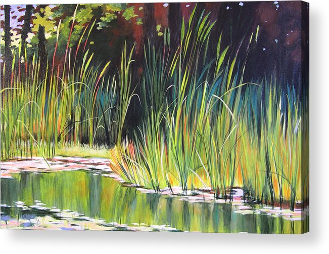 Grass Acrylic Print featuring the painting Water Garden Landscape II by Melody Cleary